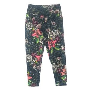 Small Gray Pink Floral Leggings